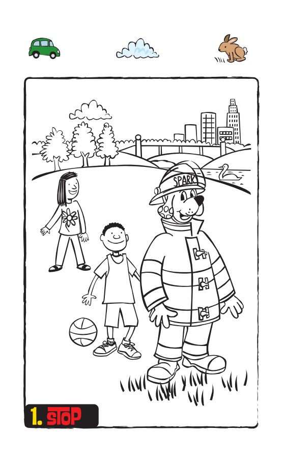 Stop Drop and Roll Coloring Page